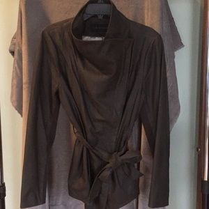 Dark camp green Elie Tahari leather belted jacket